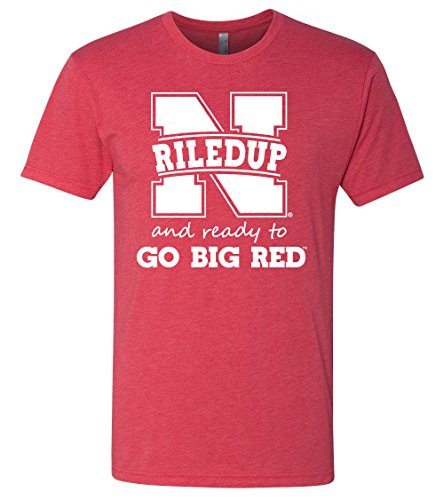 "Premium Ultra-Soft Tri-Blend Nebraska Cornhuskers Football ""RiledUp"" Tee Shirt - Red - Large"