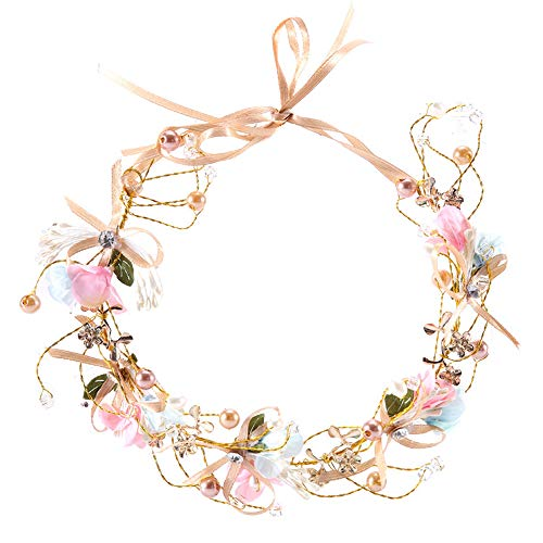 RQJ Headband Freshwater Pearl Crystal Bridal Gold Flower Headbands Wedding Headpiece Wreath Tiara Bridesmaid Floral Hair Vine with Bowknot Ribbons Hair Band Hair Accessories for Girl -