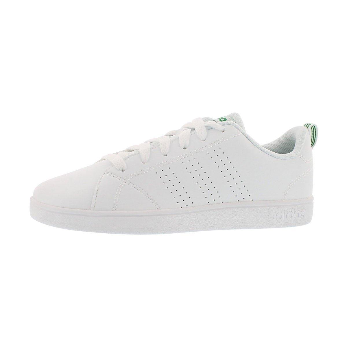 adidas Kids' VS Advantage Clean Sneaker, White/White/Green, 5 M US Big Kid
