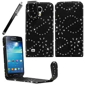 Sleek Gadgets®–Funda de piel con lápiz negro de flores de diamantes de imitación para Samsung Galaxy S4Mini i9190