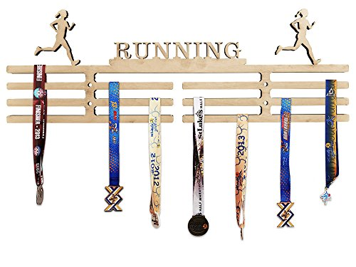 - Arena Gifts Wooden Running Medal Hanger Display - Running - Medal Holder - Rack - Perfect Gift Idea for Female Woman Women Runners - Displays Up to 24 Medals or Ribbons