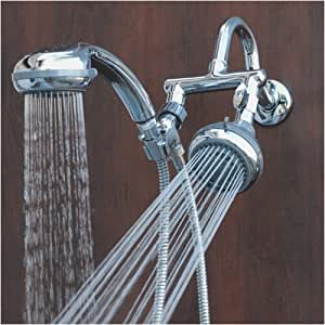double shower head mermaid chrome held shower system 29653