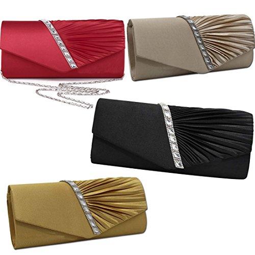 Clutch Handbag Studded Womens Silver Pleated Crystal Evening Satin EROUGE cW4Rnc