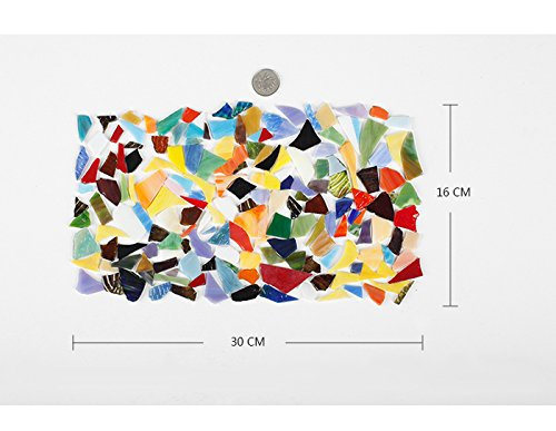 Lanyani Glass Mosaics Pieces Stained Glass, Assorted Colors and Shapes, 1kg/35 Ounce