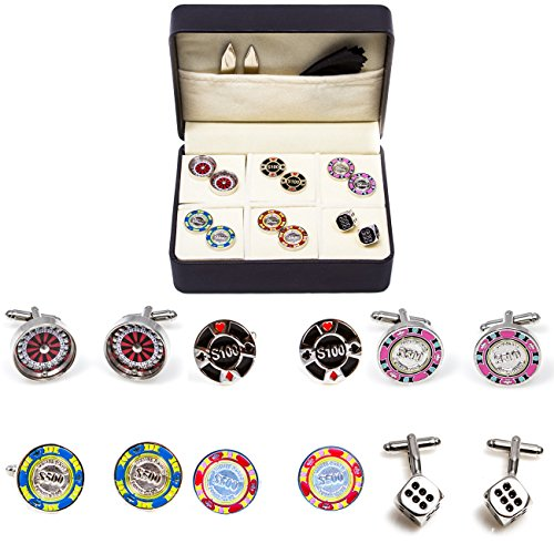 - MRCUFF Casino Chips Poker Roulette Blackjack Craps 6 Pairs Cufflinks in a Presentation Gift Box, Collar Tabs & Polishing Cloth