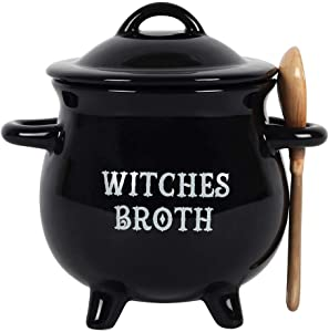 Pacific Giftware Witches Broth Cauldron Ceramic Bowl with Broom Spoon