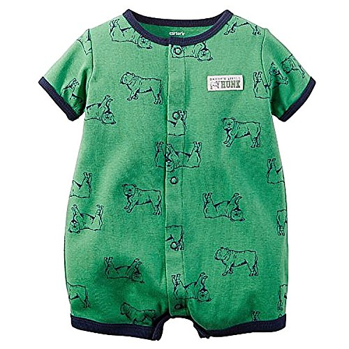 Carters Baby Boys Snap-Up Printed Cotton Romper Green Dogs 3M
