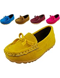 DADAWEN Boy's Girl's Adorable Bow Slip-On Loafers Oxford Shoes Yellow US Size 5.5 M Toddler aRUbl3GXtW