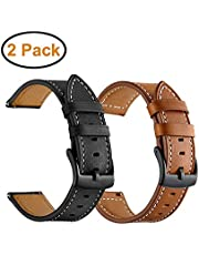 BIGTANG Vivoactive 3 Watch Band, 20mm Quick Release Genuine Leather Watch Strap for Garmin Vivoactive 3/ Forerunner 645 Music/Samsung Galaxy 42mm Smart Watch – Brown & Black [2 Pack]