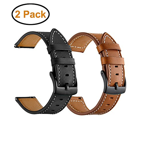 BIGTANG Vivoactive 3 Watch Band, 20mm Quick Release Genuine Leather Watch Strap for Garmin Vivoactive 3/ Forerunner 645 Music/Samsung Galaxy 42mm Smart Watch - Brown & Black [2 Pack] (Leather Replacement Watch Bands)