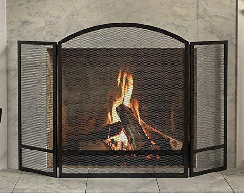 Panacea Products 15951 3-Panel Arch Screen with Double Bar for Fireplace, Multi by Panacea Products