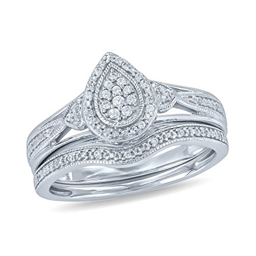 (Tesero Mio Sterling Silver 1/6 Carat Round Cut (I-J Color, I2-I3 Clarity) Natural Diamond Wedding Ring for Women, US Size 9)