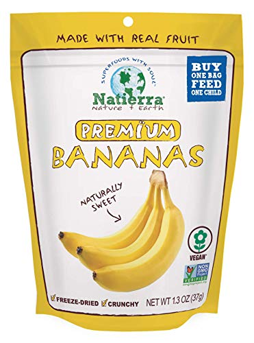 Natierra Nature's All Foods Organic Freeze-Dried and Crunchy, Bananas Flavor, 2.5 Oz (Pack of 4)
