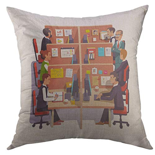 Mugod Decorative Throw Pillow Cover for Couch Sofa,Cubicle Office Work Space Employees at The Desks Supervising Boss Flat Style Color Modern Home Decor Pillow Case 18x18 inch