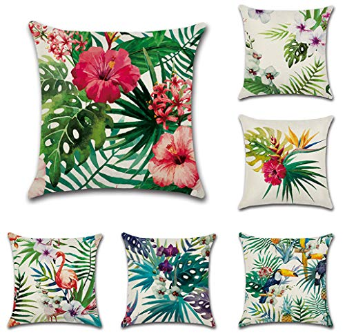 Bekith 6 Pack Home Decorative Throw Pillow Case Cotton Square Cushion Cover for Sofa Couch Car Bed - Flamingo Tropical Flower Leaves Pattern 18 x - Tropical Colorful Flowers