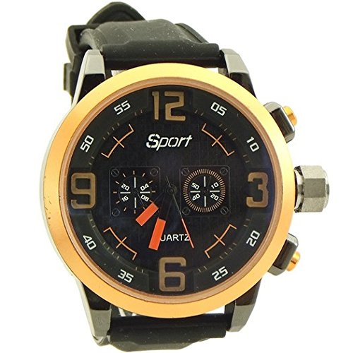 Sport watches for men rubber band black and orange color bez