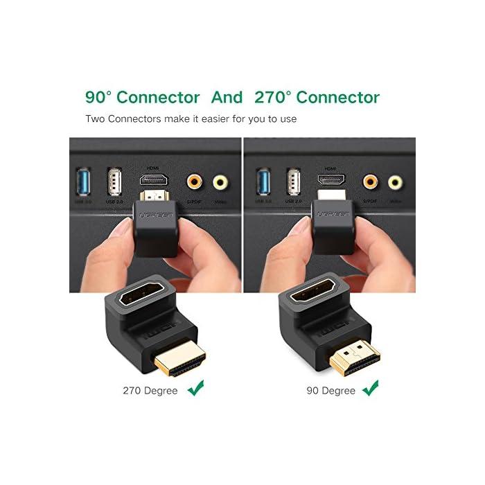 51J8hOppk5L Haz clic aquí para comprobar si este producto es compatible con tu modelo : El adaptador HDMI de alta velocidad permite extender el puerto HDMI desde el televisor, monitor, proyector y otra pantalla, proteja el puerto HDMI original. Este conector HDMI garantiza una larga vida de sus costosos dispositivos y cables : El adaptador HDMI de 90 grado y 270 grado es compatible con todos los dispositivos HDMI, tales como PC, Nintendo Switch, PS4 Pro / PS4 / PS3, Xbox One / 360, Reproductor de Blu-ray, Freebox, DVD, Apple TV, Box TV, Proyector de video etc.