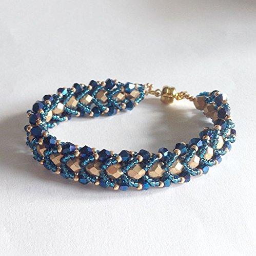 rivenditore all'ingrosso bdd71 ea75d Bracciale blu oro a spirale piatta: Amazon.it: Handmade