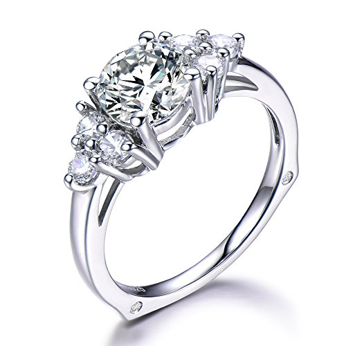 Solid 14k White Gold Cluster 6.5mm CZ Cubic Zirconia Diamond Engagement Ring Unique Antique Promise Gift by Milejewel CZ engagement rings