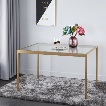 Tempered Glass and Metal Dining Table, Large by Tempered Glass and Metal Dining Table, Large
