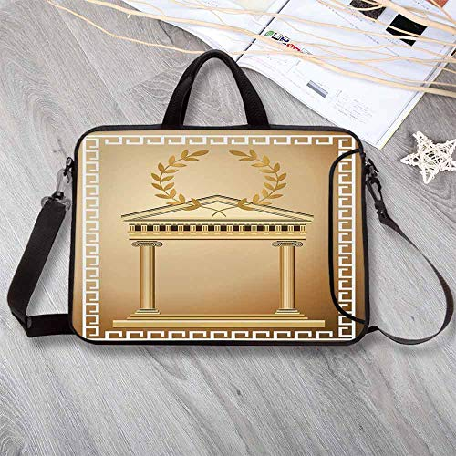 "(Toga Party Waterproof Neoprene Laptop Bag,Antique Temple with Roman Olive Branch and Greek Architecture Motif Laptop Bag for Business Casual or School,13.8""L x 10.2""W x)"