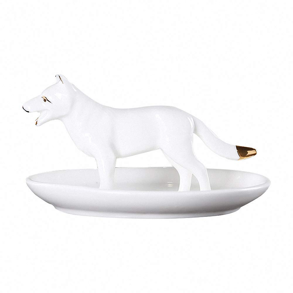 LYNK THINGS Dog Ceramic Jewelry Tray Ring Earrings Holder Necklace Crafts Organizer Storage =Trinkets Tray Dish Plate Stand Display Gift for Daughter Girlfriend Home Decoration, White