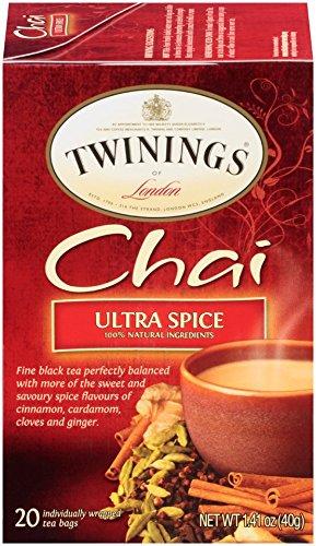 Twinings Chai Tea, Ultra Spice Chai, 20 Count Bagged Tea (6 Pack)