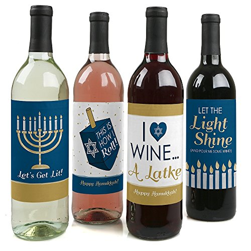 Happy Hanukkah Chanukah Wine Bottle Labels (Set of 4)