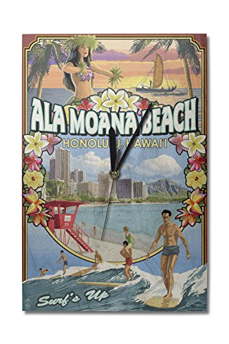 Ala Moana Beach - Honolulu, Hawai'i - Montage Scene (10x15 Wood Wall Clock, Decor Ready to - Moana Hawaii Ala