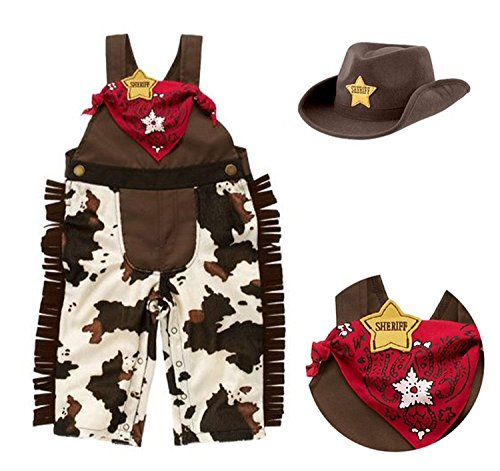 [Baby Boy Cowboy Overalls Outfits ,Hat and Handkerchief] (Denim Romper Costume)