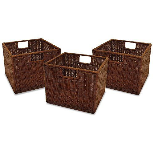 Set of 3 Small Wired Rattan Baskets