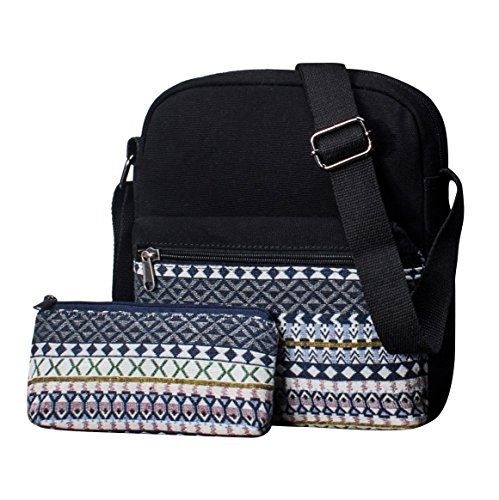 Leaper Canvas Messenger Bag Crossbody Bag Purse Shoulder Bag Black 9010