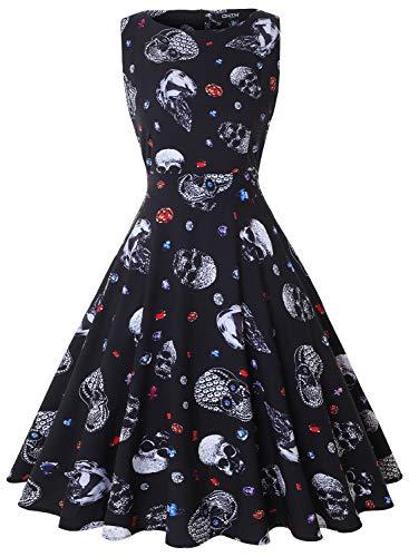 OWIN Womens Halloween Casual Sleeveless A-line Skull Printed Pumpkin Dress