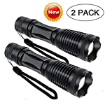 Tactical Flashlights 2000 Lumens,Best Portable Tac Light,Ultra Bright LED Handheld Flashlight,Zoom Function Waterproof Torch and 5 Light Modesfor Camping, Outdoor, Emergency Flashlights (2 Pack E6)