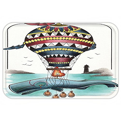 Aztec Hot Water Extractor (VROSELV Custom Door MatTrippy Art Decor Hammerhead Whale Fish with Hot Air Baloon Marine Sea Coast Shore Theme Grey Blue)
