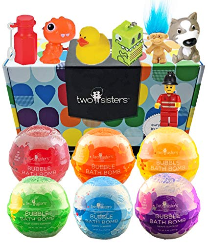6 Kids Bubble Bath Bombs for Girls and Boys with Fun Surprise Toys Inside by Two Sisters Spa. XL Large Lush Spa Fizzies Gift Set. 99% Natural. Safe Kid Friendly Ingredients. USA Made by Moms. -