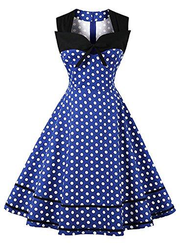 1950s Cotton Print - Killreal Women's Sleeveless 1950s Retro Vintage Polka Dot Print Rockabilly Dress Dark Blue Large