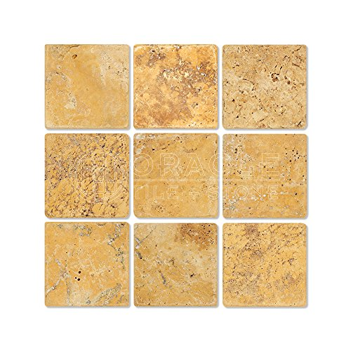 (Gold (Yellow) Travertine 4 X 4 Field Tile, Tumbled)