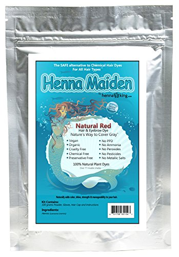 Henna Maiden RADIANT NATURAL RED Hair Color: 100% Natural & Chemical Free