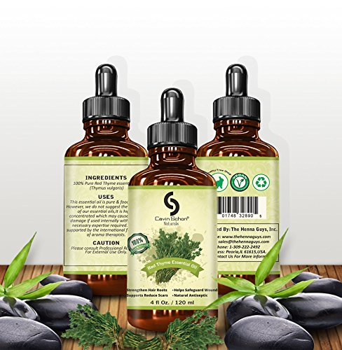 4 fl. Oz Undiluted Thyme Red Essential Oil - 100% Pure, Natural, Premium, Therapeutic & Pharmaceutical Grade, Money Back Satisfaction Guarantee