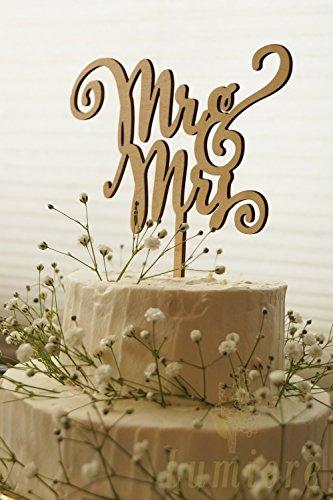 04f53d77e5fca Lumierechat 結婚式 ウェディング ケーキトッパー ウェディングケーキ ケーキ トッパー 飾り 木製 Mr Mrs デコレーション a-