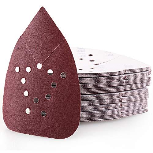 150 Grit Sanding Pads for Black and Decker Mouse Sanders, 50PCS Hook and Loop Sandpaper Sheets, LotFancy 12 Holes Detail Palm Sander Sand Paper (150 Sanders)