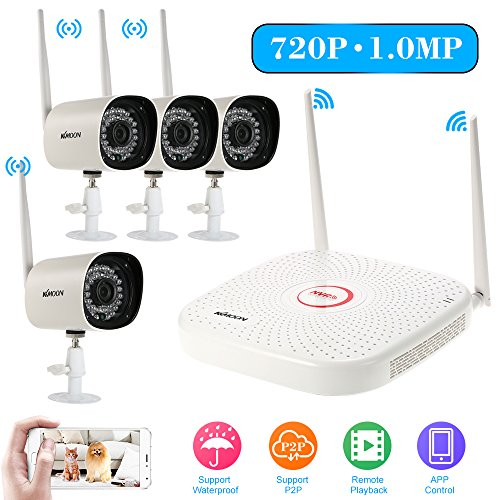 KKmoon 4pcs HD 720P WiFi IP Camera Home Surveillance Camera Sytem 4 Ch Wireless NVR 1TB HDD Support IR Night Vision Phone Control Motion Detection Remote Playback Weatherproof