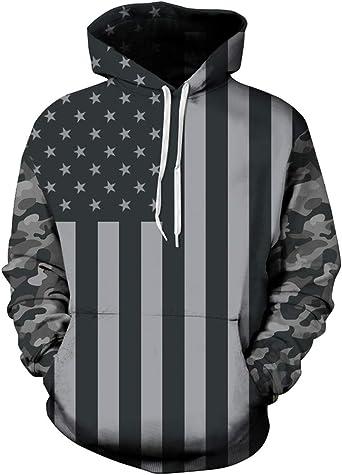 Men Sweatshirt American Flag 3D Digital Full Print Long Sleeves Sweatshirts Tops