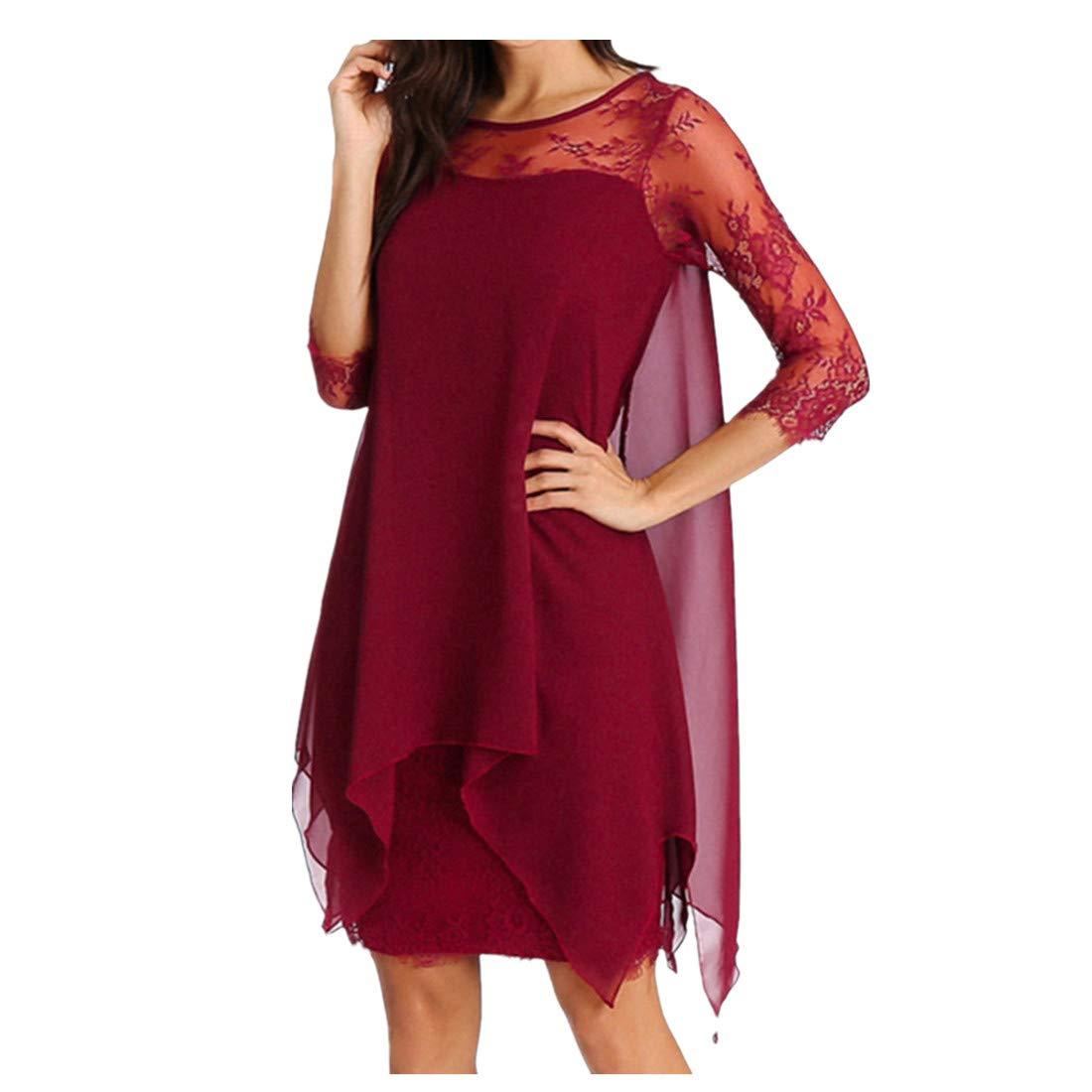 Nadition Ladies Elegant Dress ❤️️ Women Fashion Chiffon Overlay 3/4 Sleeve Lace Shift Dress Summer Evening Party Dress