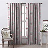 GloriaJohnson Shabby Chic 99% Blackout Curtains Retro Style Polka Dotted Backdrop and Floral Motifs Roses Cottage for Bedroom- Kindergarten- Living Room W52 x L95 Inch Baby Pink White Seafoam