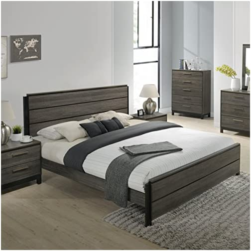 Roundhill Furniture Ioana 187 Antique Grey Finish Wood Bed Room Set, Queen Size Bed, Dresser, Mirror