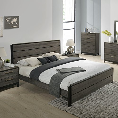 home & kitchen, furniture, bedroom furniture,  bedroom sets  on sale, Roundhill Furniture Ioana 187 Antique Grey Finish Wood Bed Room Set, Queen Size Bed, Dresser, Mirror, Night Stand deals4