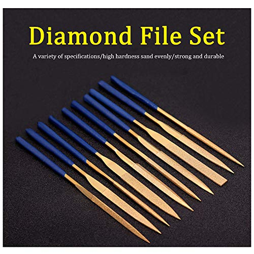 (5mm x 180mm Titanium Coated Diamond Needle File Set  Rubber Handle Variety Shapes for Glass Jade Metal Ceramic and Jewelry Carving, 10Pcs )