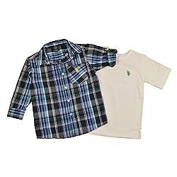 U.S. Polo Assn. Little Boys' 2Fer Crew Neck T-Shirt and Long Sleeve Plaid Shirt Set